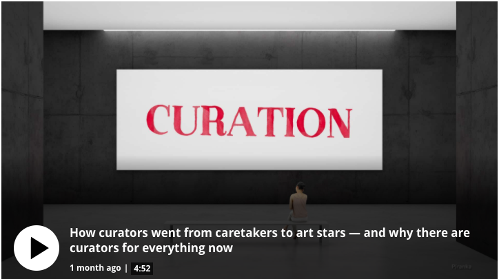 Image of a screen shot: In this week's Art 101, Professor Lise looks at how the idea of the curator evolved. 4:52