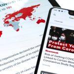 A Samsung Galaxy Tab S and Google Pixel 3XL show Coronavirus information
